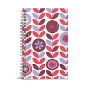 "Bookjigs Spiral-Bound Series Medium Canvas Notebook, 8"" x 5"", Stems and Flowers"