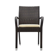 Bienal Stacking Dining Arm Chair with Cushion; Espresso