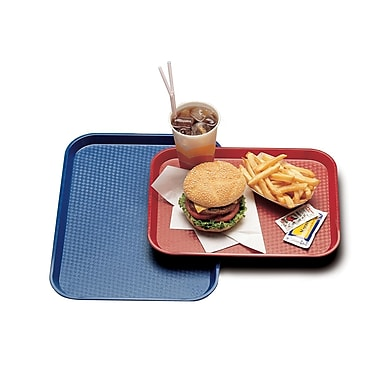 "Cambro 1216FF-163, 12"" x 16"" Plastic Fast Food Trays, 12/Pack, Rose Red"