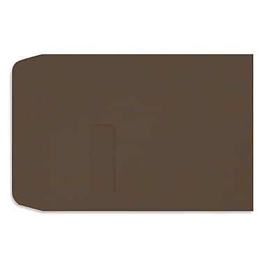 LUX Peel & Press 9 x 12 Open End Window Envelopes 1000/Pack, Chocolate Brown (LUX-1590-17-1M)