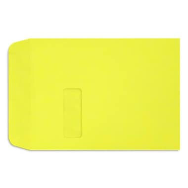 LUX Peel & Press 9 x 12 Open End Window Envelopes 500/Pack, Citrus Yellow (LUX1590L20-500)