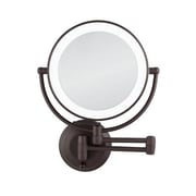 Zadro Cordless Dual LED Lighted Round Wall Mount Mirror 1X/10X, Oil-Rubbed Bronze