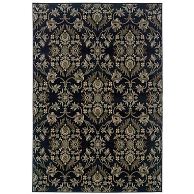 StyleHaven Floral Navy/ Gray Indoor Machine-made Polypropylene Area Rug (5'3