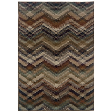 StyleHaven Chevron Grey/ Multi Indoor Machine-made Polypropylene Area Rug (6'7