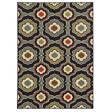 StyleHaven Floral Black/ Grey Indoor Machine-made Nylon Area Rug (3'3