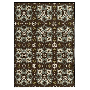 StyleHaven Floral Brown/ Blue Indoor Machine-made Nylon Area Rug (5'3
