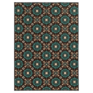 StyleHaven-Floral Brown/ Blue Indoor Machine-made Nylon Area Rug (5'3