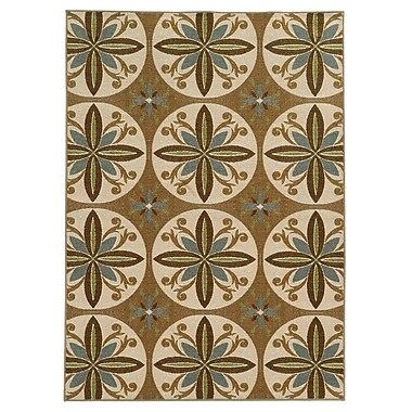 StyleHaven Floral Tan/ Ivory Indoor Machine-made Nylon Area Rug (6'7
