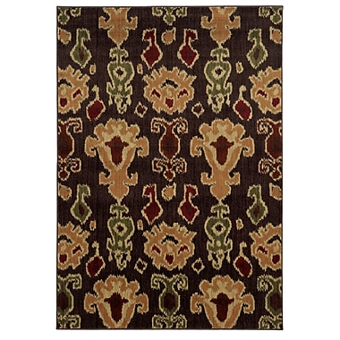 StyleHaven Abstract Brown/ Gold Indoor Machine-made Polypropylene Area Rug (5'3