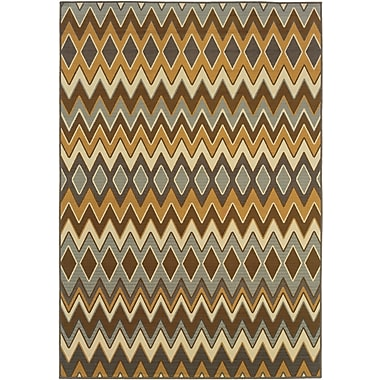StyleHaven - Chevron Grey/ Gold Indoor/Outdoor Machine-Made Polypropylene Area Rug (6'7