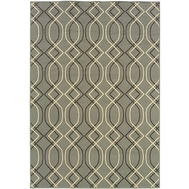 StyleHaven Geometric Blue/ Grey Indoor/Outdoor Machine-made Polypropylene Area Rug (6'7
