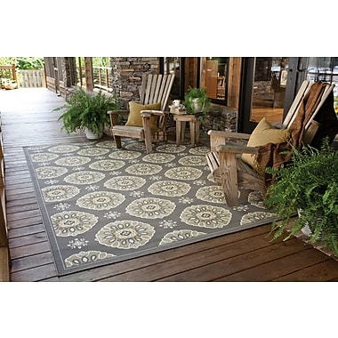StyleHaven-Floral Grey/ Gold Indoor/Outdoor Machine-made Polypropylene Area Rug (6'7