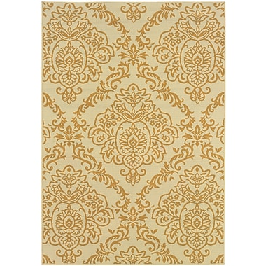 StyleHaven Floral Ivory/ Gold Indoor/Outdoor Machine-made Polypropylene Area Rug (3'7