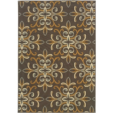 StyleHaven Floral Grey/ Gold Indoor/Outdoor Machine-made Polypropylene Area Rug (5'3