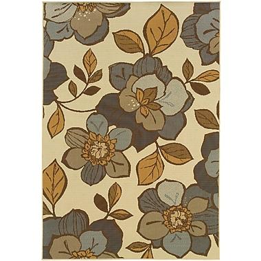 StyleHaven Floral Ivory/ Grey Indoor/Outdoor Machine-made Polypropylene Area Rug (6'7