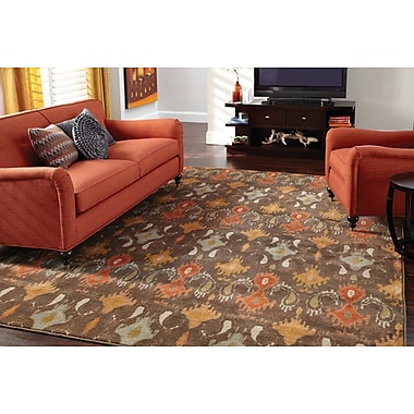 StyleHaven Floral Ikat Brown/ Orange Indoor Machine-made Nylon/Polypropylene Area Rug (6'7