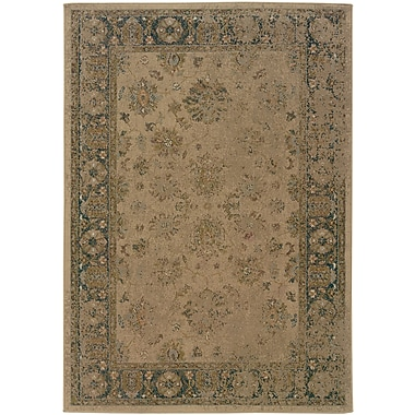 StyleHaven-Distressed Old World Beige/ Blue Indoor Machine-made Polypropylene Area Rug (5'3