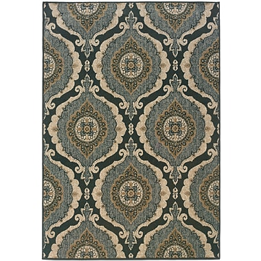 StyleHaven Distressed Old World Blue/ Ivory Indoor Machine-made Polypropylene Area Rug (3'10