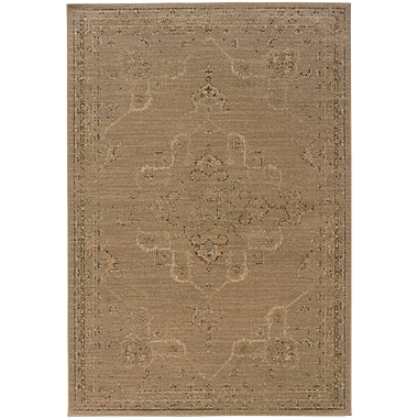 StyleHaven Distressed Old World Tan/ Beige Indoor Machine-made Polypropylene Area Rug (7'10