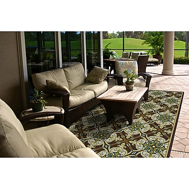 StyleHaven-Floral Brown/ Ivory Indoor/Outdoor Machine-made Polypropylene Area Rug (3'7