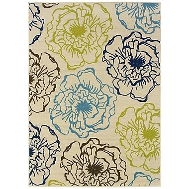 StyleHaven-Floral Ivory/ Blue Indoor/Outdoor Machine-made Polypropylene Area Rug (6'7