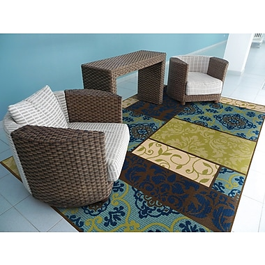 StyleHaven Geometric Brown/ Blue Indoor/Outdoor Machine-made Polypropylene Area Rug (5'3
