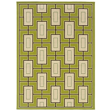 StyleHaven - Geometric Green/ Ivory Indoor/Outdoor Machine - made Polypropylene Area Rug (3'7