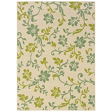 StyleHaven-Floral Ivory/ Green Indoor/Outdoor Machine-made Polypropylene Area Rug (7'10