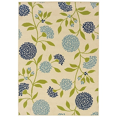 StyleHaven Floral Ivory/ Green Indoor/Outdoor Machine-made Polypropylene Area Rug (5'3