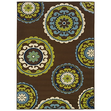 StyleHaven Medallion Brown/ Green Indoor/Outdoor Machine-made Polypropylene Area Rug (6'7