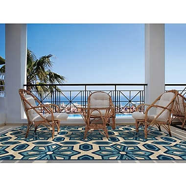StyleHaven-Geometric Ivory/ Blue Indoor/Outdoor Machine-made Polypropylene Area Rug (3'7