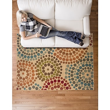 StyleHaven Geometric Gold/ Blue Indoor Machine-made Polypropylene Area Rug (3'10