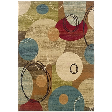 StyleHaven Geometric Gold/ Brown Indoor Machine-made Polypropylene Area Rug (6'7