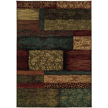 StyleHaven-Geometric Brown/ Teal Indoor Machine-made Polypropylene Area Rug (3'10