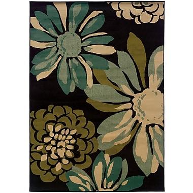 StyleHaven Floral Teal/ Ivory Indoor Machine-made Polypropylene Area Rug (7'10