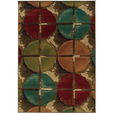 StyleHaven Geometric Brown/ Teal Indoor Machine-made Polypropylene Area Rug (3'10