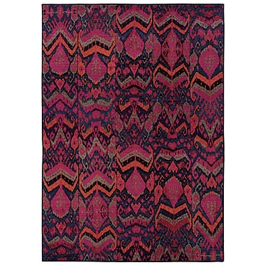 StyleHaven Abstract Tribal Blue/ Pink Indoor Machine-made Polypropylene Area Rug (6'7