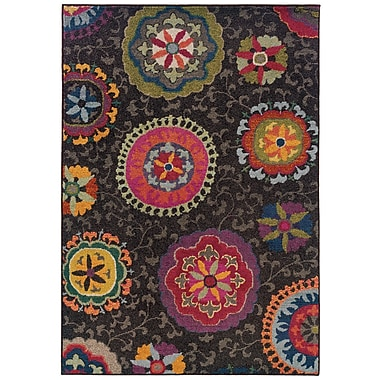 StyleHaven Floral Grey/ Multi Indoor Machine-made Polypropylene Area Rug (6'7