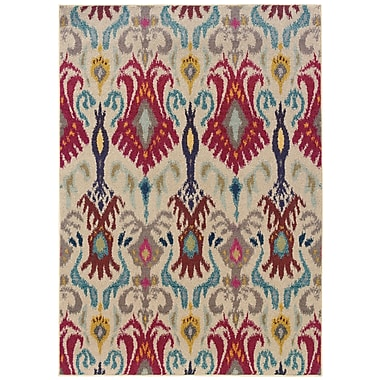 StyleHaven Abstract Floral Ivory/ Red Indoor Machine-made Polypropylene Area Rug (5'3