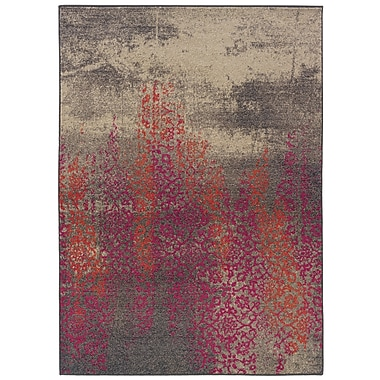StyleHaven Distressed Abstract Grey/ Pink Indoor Machine-made Polypropylene Area Rug (5'3