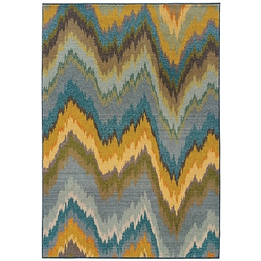 StyleHaven Abstract Yellow/ Blue Indoor Machine-made Polypropylene Area Rug (6'7