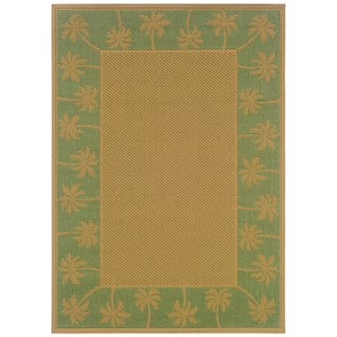 StyleHaven-Outdoor Beige/ Green Indoor/Outdoor Machine-made Polypropylene Area Rug (3'7
