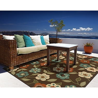 StyleHaven-Floral Brown/ Ivory Indoor/Outdoor Machine-made Polypropylene Area Rug (6'7