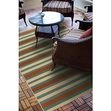 StyleHaven Stripes Blue/ Ivory Indoor/Outdoor Machine-made Polypropylene Area Rug (3'7