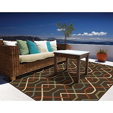 StyleHaven-Geometric Brown/ Ivory Indoor/Outdoor Machine-made Polypropylene Area Rug (3'7