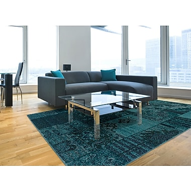 StyleHaven-Overdyed Oriental Teal/ Grey Indoor Machine-made Polypropylene Area Rug (7'10