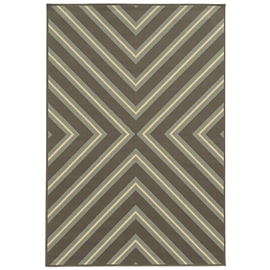 StyleHaven Geometric Grey/ Blue Indoor/Outdoor Machine-made Polypropylene Area Rug (7'10