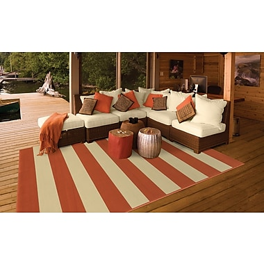 StyleHaven Striped Geometric Orange/ Ivory Indoor/Outdoor Machine-made Polypropylene Area Rug (3'7