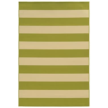 StyleHaven Striped Geometric Green/ Ivory Indoor/Outdoor Machine-made Polypropylene Area Rug (6'7