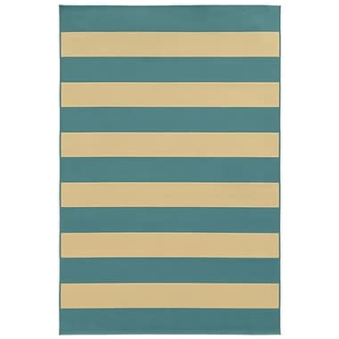 StyleHaven Striped Geometric Blue/ Ivory Indoor/Outdoor Machine-made Polypropylene Area Rug (3'7